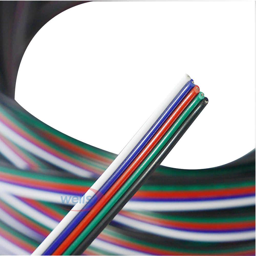 を Freeshipping 5-20 メートル 5 ピンケーブル線 22 AWG RGB 延長ブルー/レッド/ホワイト/ グリーン/ブラック RGBW SMD 5050 3528 Led RGB ストリップライト