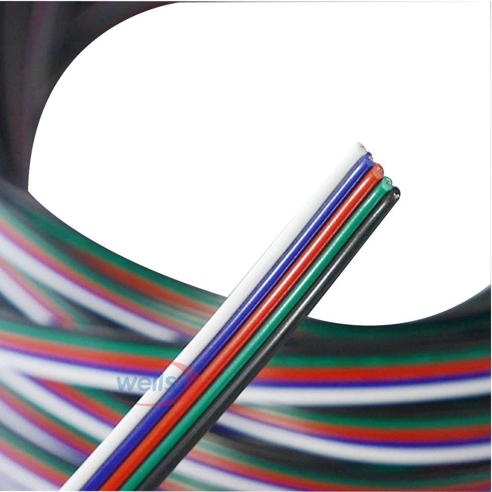 Freeshipping 5-20m 5-pin Cable Wire 22 AWG RGB Extension Blue/Red/White/Green/Black For RGBW SMD 5050 3528 Led RGB Strip Light