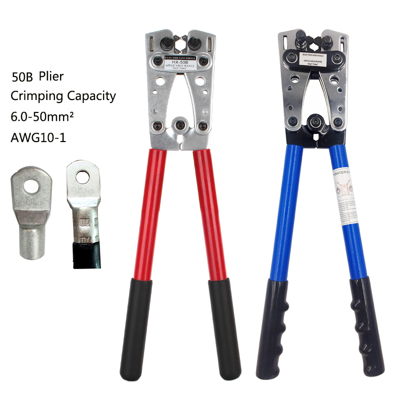Wire cable crimping plier Hand tools pressed bare terminal clamp copper nose pliers OT / UT terminal 6-50mm2 AWG 10-1 Multitool цена