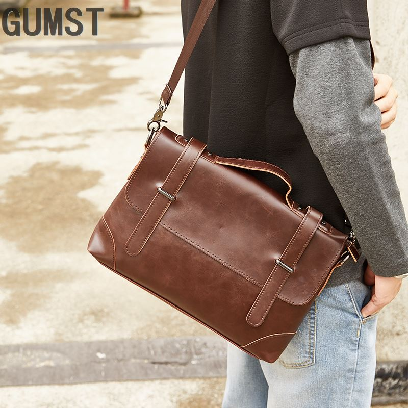 GUMST Crazy Horse Leather Men's Briefcase Messenger Bag For Gentlemen Document Case Portfolio Office Bag