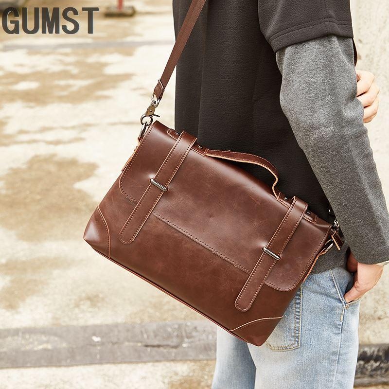 GUMST Crazy Horse Leather Men's Briefcase Messenger Bag For Gentlemen Document Case Portfolio Office Bag