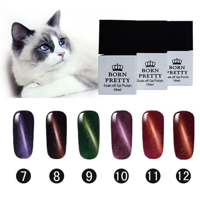 BORN PRETTY Magnetic Cat Eye Gel Manicure 6 Bottles 10Ml LED UV Soak Off Gel Lacquer 7-12 No Black Base Needed