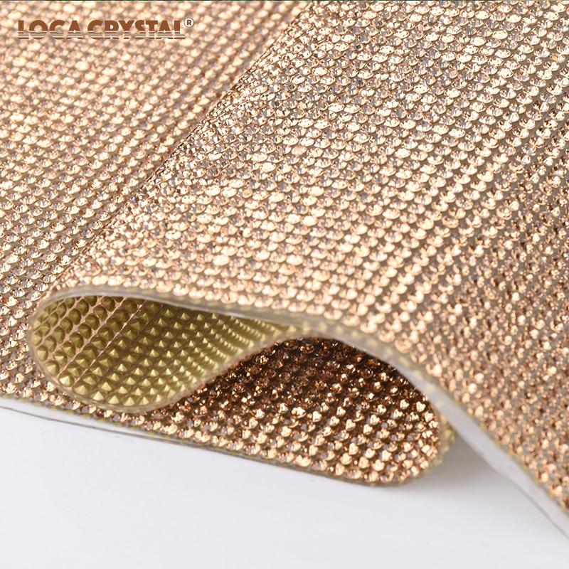 Cup Car Decoration Crystal Rhinestone Net Mesh Hotfix Strass Rhinestone Banding Sheet LOCACRYSTAL