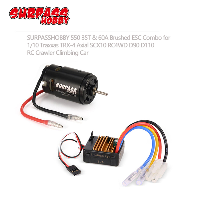 SURPASS HOBBY 550 21T 27T 35T Brushed Motor 60A ESC 5V/2A BEC สำหรับ HSP HPI Kyosho TRAXXAS 1/10 RC Crawler Off road ปีน