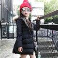 2016 Moda Meninas Casacos de Inverno Com Capuz Casaco Longo Pato Para Baixo Parkas Grossas Das Crianças Das Crianças Quentes Casacos de Algodão