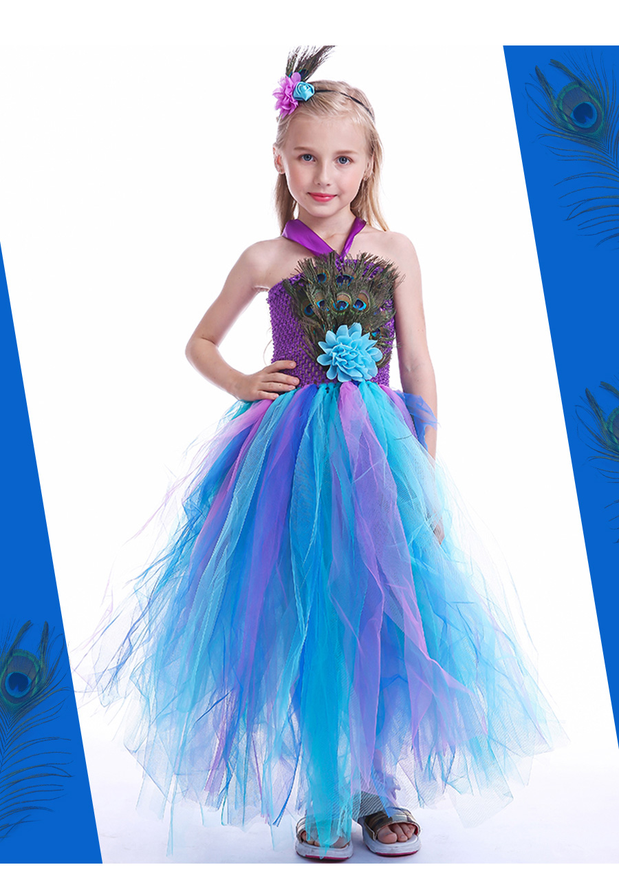 Peacock Feather Girl Tutu Dress Baby Peacock Dress with Hair Accessories  Halloween Pageant Wedding Glam Costume Party Outfit (7)