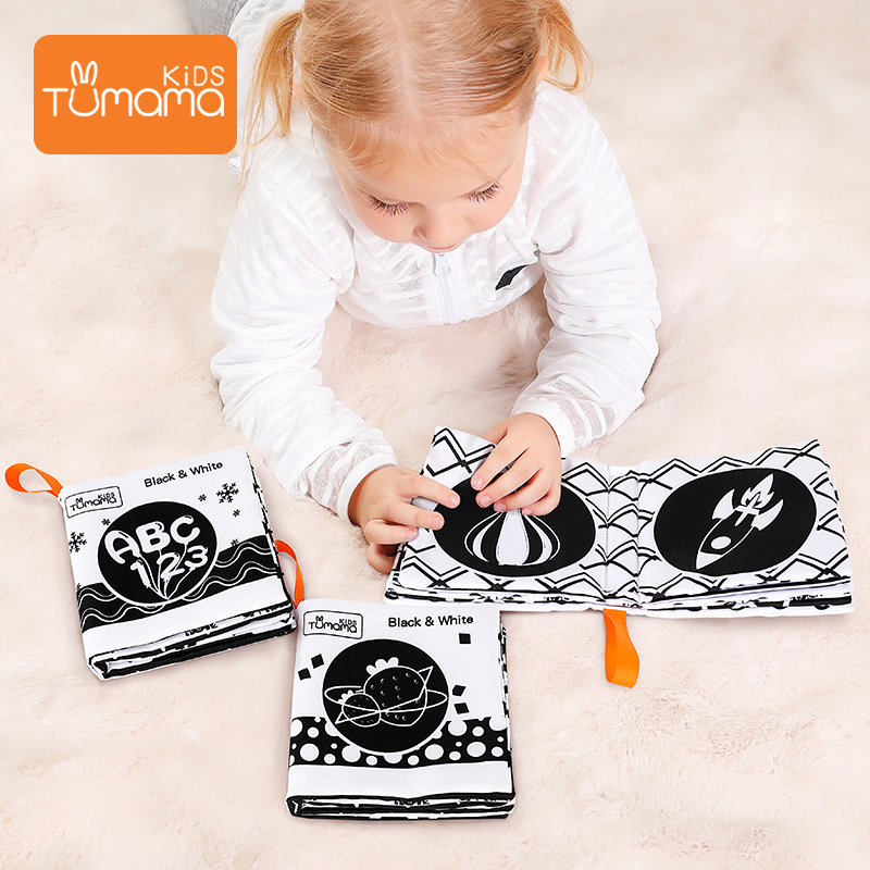3pcs Baby Cloth Books Early Learning Educational Toys Black White Soft Cloth Development Books Cartoon Animal Infant Toys