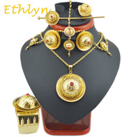 2015 Latest Color Stone Ethiopian Jewelry Sets 22k Gold Plated Hair Jewelry 6pcs Sets For African