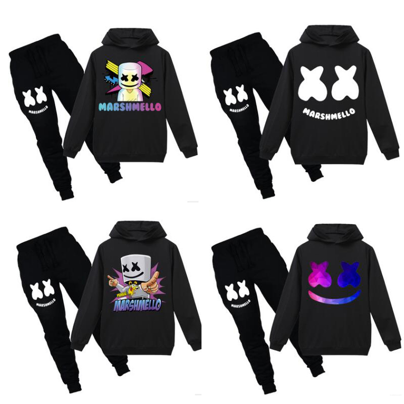 Baby Girls child Children Marshmello suit DJ Music  Toddler Clothes Girl Kids Marshmello hoodie pants  Marshmello mask