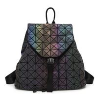 New Women Laser Backpack Geometric Shoulder Bag Student S School Bag Hologram Luminous Backpack Laser Silver