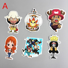 TD ZW 6 Pcs/lot Japanese Anime One Piece Luffy Nami Funny Sticker Decal For Car Laptop Notebook Backpack Waterproof Stickers