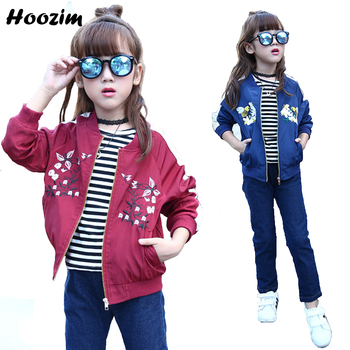 Girls Bomber Jackets Spring Embroidery Floral Nylon Jacket Kids Red Coat For Girls Casual Children Outerwear Embroidery Honeybee