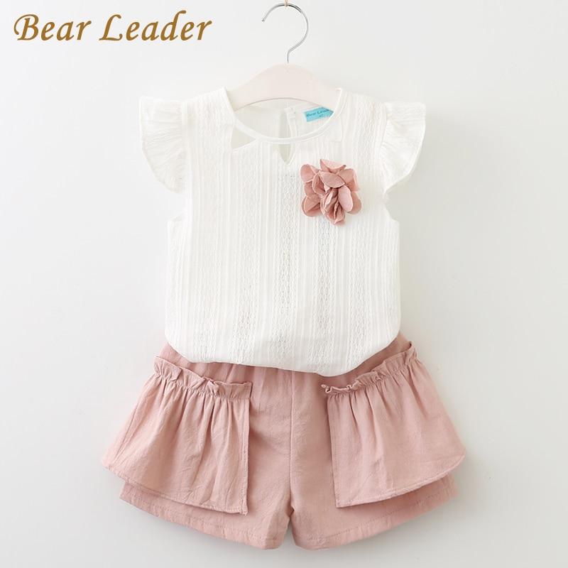 หมีผู้นำสาวชุดเสื้อผ้า 2018 ยี่ห้อสไตล์ฤดูร้อนเสื้อผ้าเด็กชุดแขนกุดสีขาวเสื้อยืด + กางเกงสีชมพู 2 ชิ้นสาวชุด