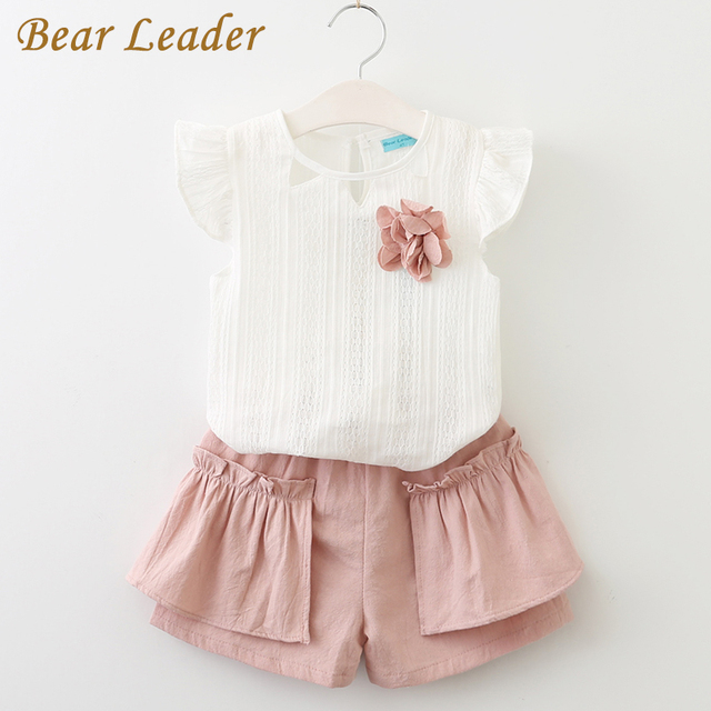 8f9aa9ae225058 Bear Leader Girls Clothing Sets 2018 Brand Summer Style Kids Clothing Sets  Sleeveless White T-shirt+Pink Pants 2Pcs Girls Suits