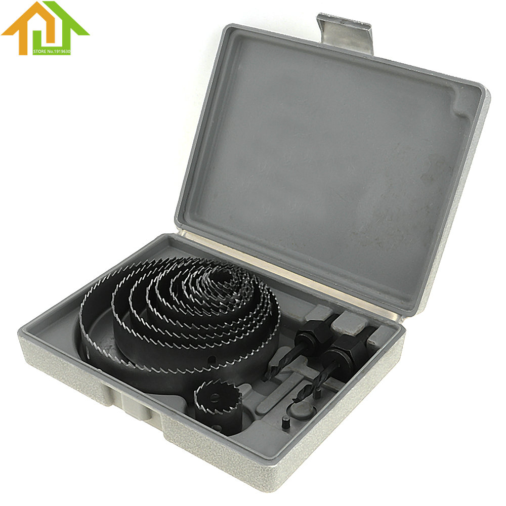 13pcs 19-127mm Gypsum Board / PVC Board Hole Saw Bit Cutting Set Kit Drilling Tool Round Case Drill Bits new 50mm wall hole saw drill bit set 200mm connecting rod with wrench mayitr for concrete cement stone