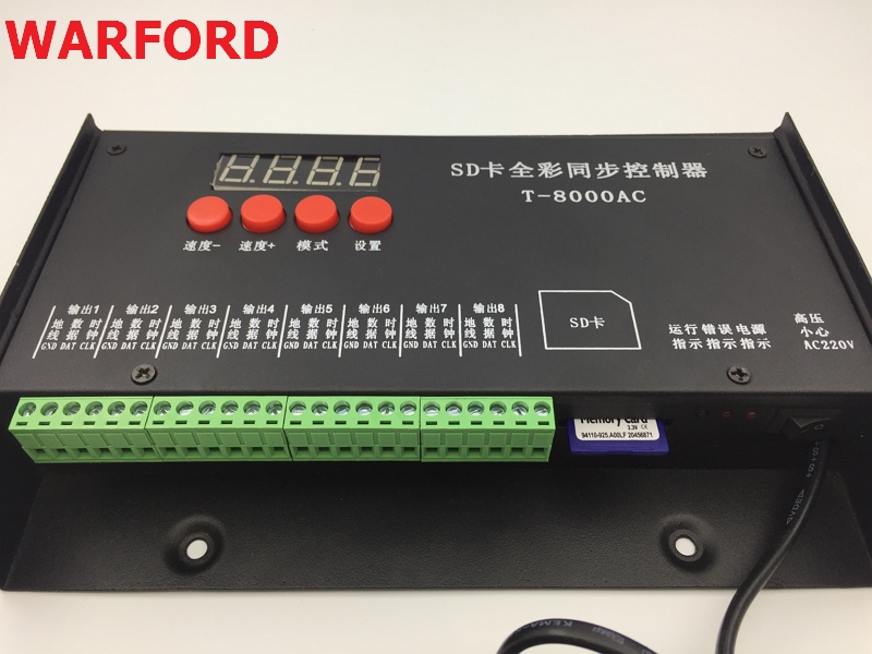 WARFORD T8000AC AC110-240V SD Card Pixel Controller for WS2801 WS2811 LPD8806 MAX 8192 Pixels DC5V купить в Москве 2019