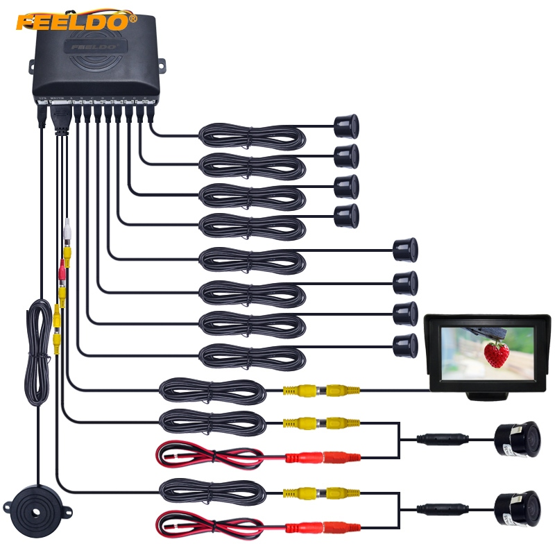 FEELDO 1Set Car 4 3 LCD Monitor 8 Sensor Radar 2pcs 18 5mm CCD Camera Dual