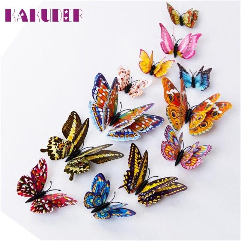 Vinilos decorativos Kakuder párr 12 unids 3D Mariposas Pegatinas de Pared Doble