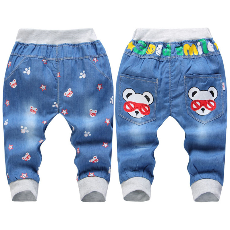 2017 Hot Sale Boy Girl Summer Denim Jeans Children Comfortable Pants Baby Elastic Waist Jeans Pants Cartoon Printing CY142 (4)