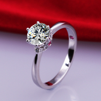 Brand New 1 Carat SONA Synthetic Diamond Fashion Ring 925 Sterling Silver Classic PT950 Wedding Jewelry