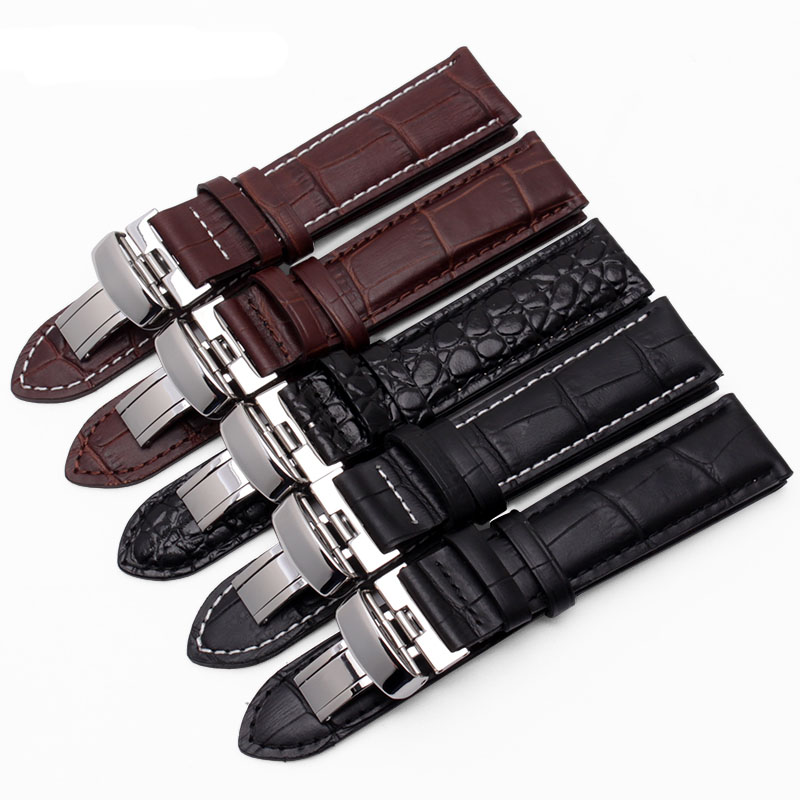 19mm Buckle18mm PRC200 T17 T41 T461 High Quality Silver Butterfly Buckle Black Genuine Leather Watch Bands