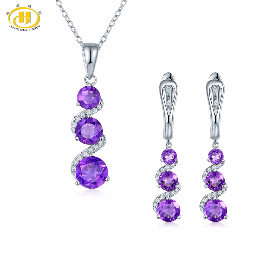 Hutang Stone Jewelry Sets Natural Gemstone African Amethyst Earrings Pendant Fine Fashion Jewelry For Women s
