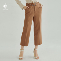 FANSILANEN 2018 Fashion Summer/Spring Women Pants Trousers Wide Leg Flare Loose Skinny Elastic Waist Work Solid Z80164