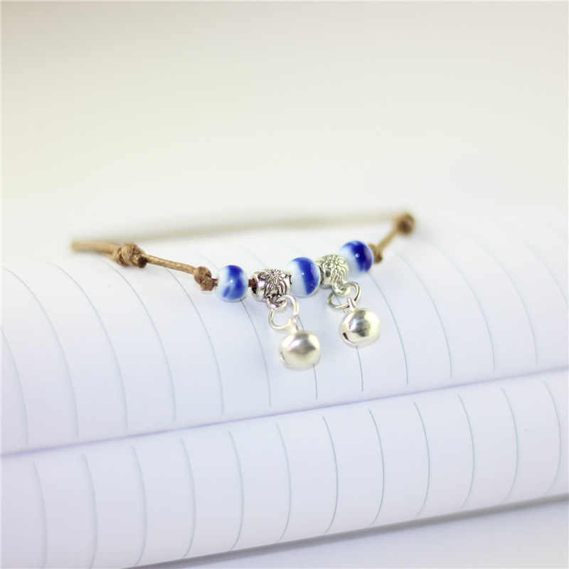 Ceramic Beads Charm Anklets For Women Strap Bracelet Rope Adjustable Chain Jewelry Bells Pendant Porcelain Bracelets Accessories