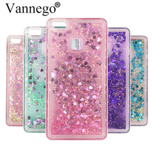 for huawei P9 Lite case Vannego Fashion Dynamic Liquid Glitter Colorful Paillette Sand Quicksand soft TPU Back water cover Case