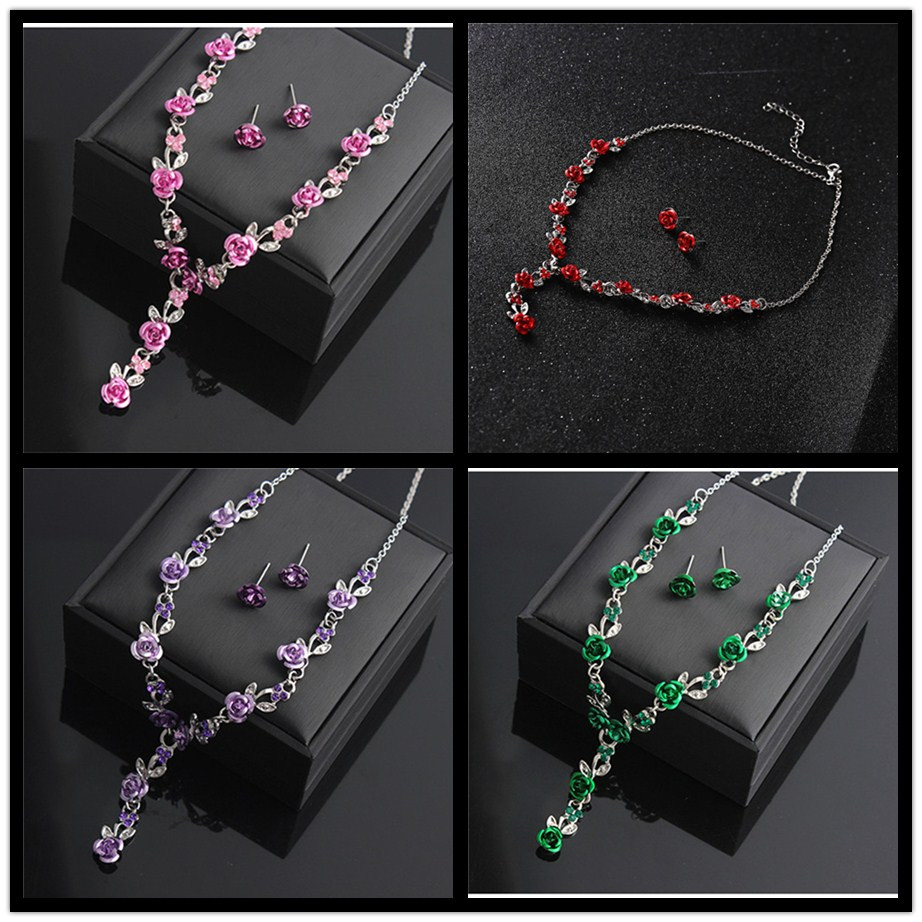 Romantic Rose Necklace Earrings Wedding Bridal African Jewelry Sets More Dubai Jewelry Sets Women Gold neckless