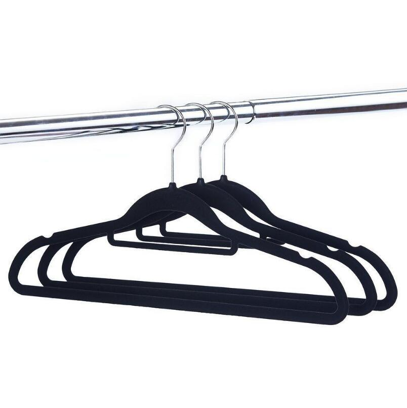 Space Saving Non-slip Slim Velvet Hangers Clothes Storage Pile Coating Velour Hangers LX ...
