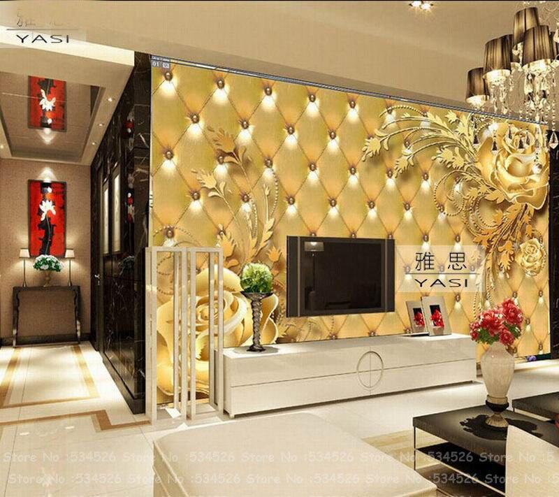 Tapete Gold beautiful 3d gold foil wallpaper wallcovering fresco papel de parede