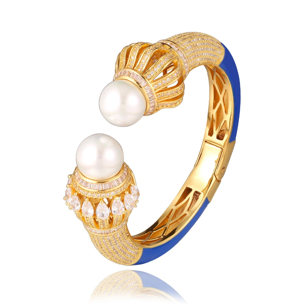 GrayBirds Luxury Cuff Bangle Shell Pearl With High Quality AAA CZ Wedding Jewelry For Women Flower White Red Blue MLB038