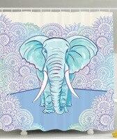 샤워 커튼 만화 코끼리 태양 원 꽃 테마 인쇄 방수 곰팡이 방지 폴리 에스테르 직물 목욕 커튼 세트