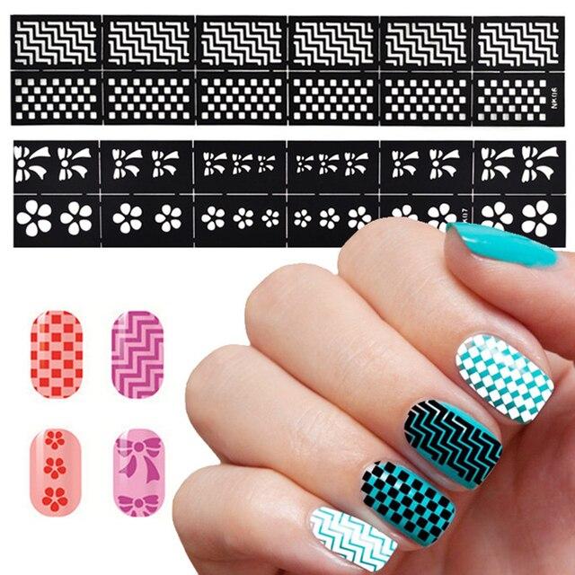 1 Sheet DIY Nail Design Stamping Tool Nail Art Hollow Template ...