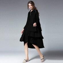 Ruffles Dress Big Yards Loose Office Ladies Shirt Dress Casual Four Seasons Solid Sleeveless V-Neck Women Chiffon Print Dress цена