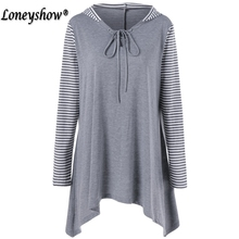 hot deal buy women t shirt plus size xl-5xl striped patchwork long sleeve lace up t-shirt 2017 new fashion casual women top tshirts tees
