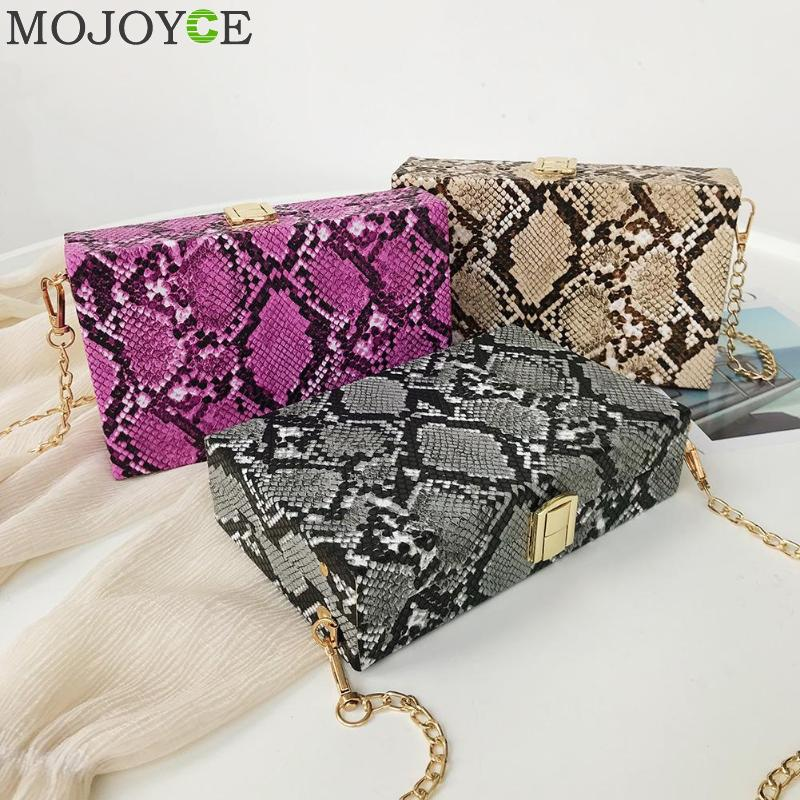 Fashion Ladies Snake Print Shoulder Messenger Handbags PU Leather Casual Women Chain Box Bags Crossbody Packs