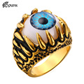 G Punk Rock  Resident Evil Eye Ring 316L Stainless Steel Party Fashion Jewelry Trendy Blue Eye Punk Men Jewelry Bands Ring R380G