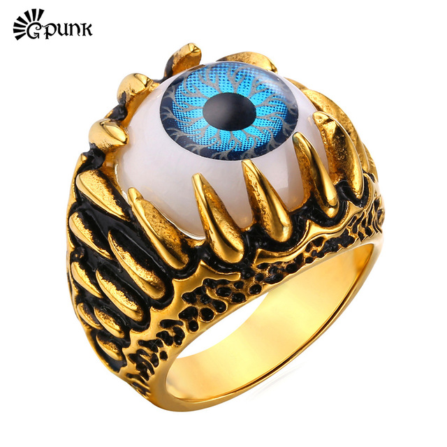 claw turkish eye Ring metal jewelry 316L Stainless Steel Party good luck Blue Eye rings Punk Men finger Band Ring R380G