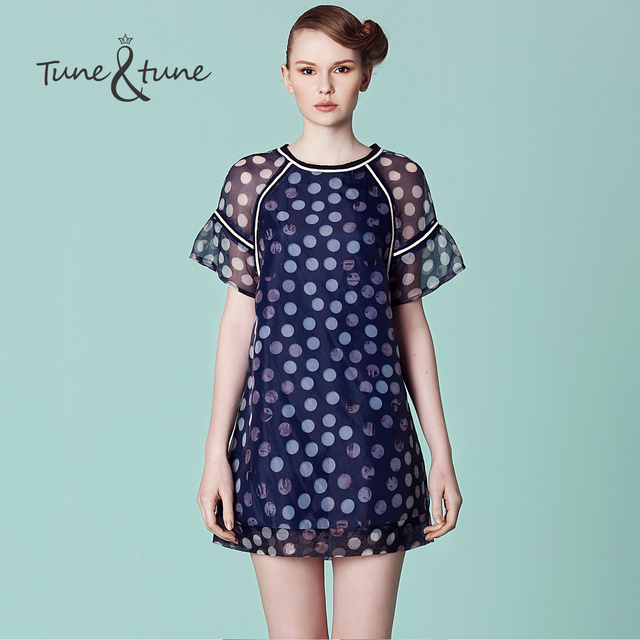 b7785d366f Tune tune 2015 summer organza polka dot print raglan sleeve puff sleeve one-piece  dress
