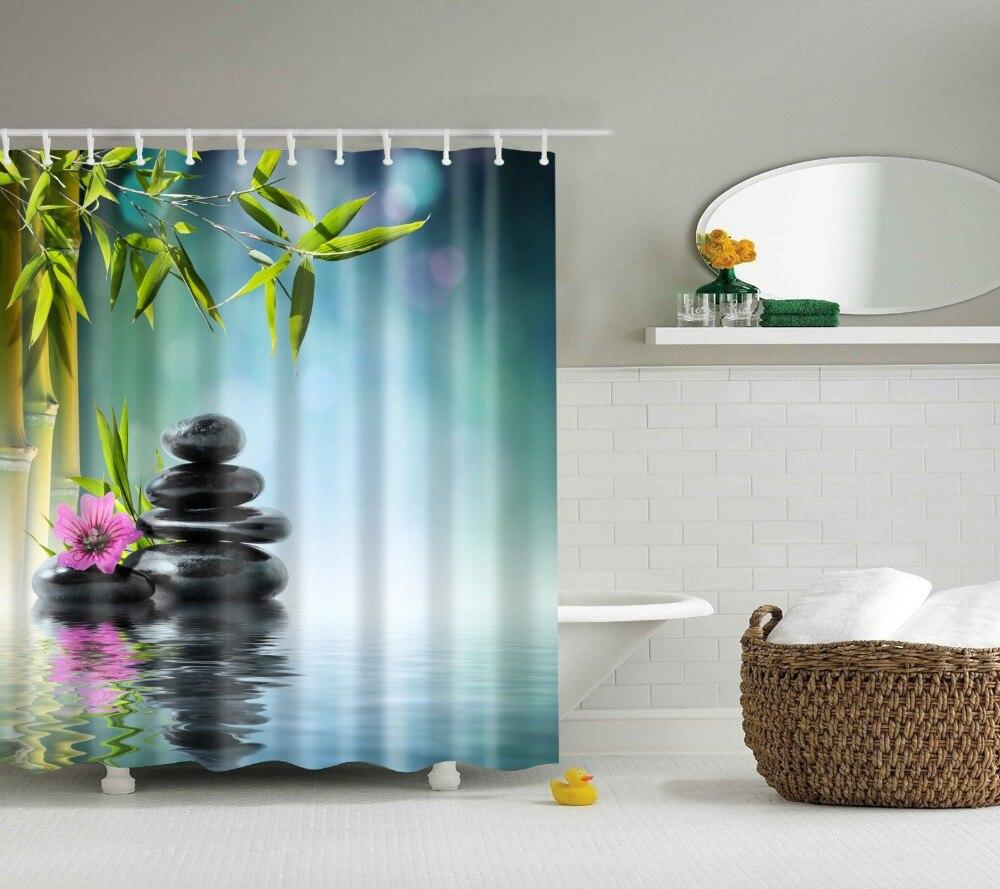 Rainforest shower curtain - Spa Decor Shower Curtain Orchid Flower Stone Oriental Culture Spirituality Wellness Tropical Holiday Bathroom Accessories
