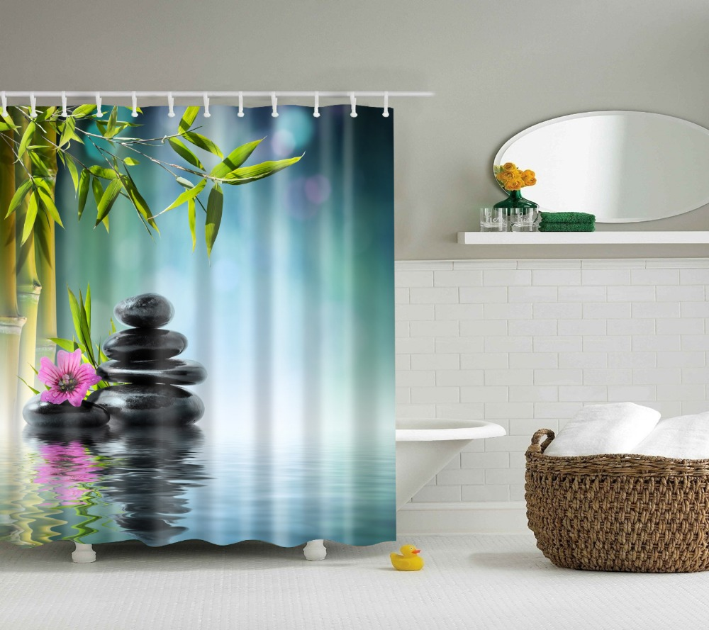 Spa Decor Shower Curtain Orchid Flower Stone Oriental Culture Spirituality  Wellness Tropical Holiday Bathroom Accessories(
