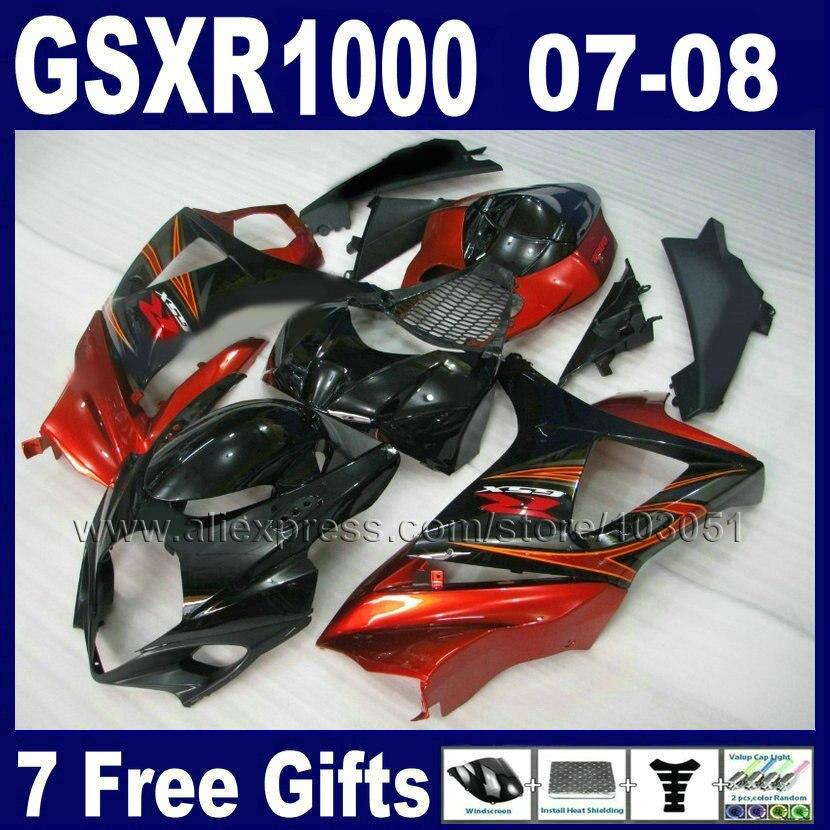 Custom road racing ABS fairings set for SUZUKI K7 2007 GSXR1000 2008 GSXR 1000  08 07 red black moto fairing bodykits abs plastic fairing kit for suzuki gsxr1000 2007 2008 k7 gsxr 1000 07 08 red black moto fairings set cb34 7 gifts