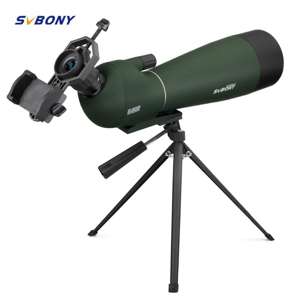 SVBONY Zoom Cannocchiali BAK4 20-60x80mm w/Treppiede Custodia Morbida Birdwatching Caccia Monoculare Telescopio Impermeabile + Adattatore F9308