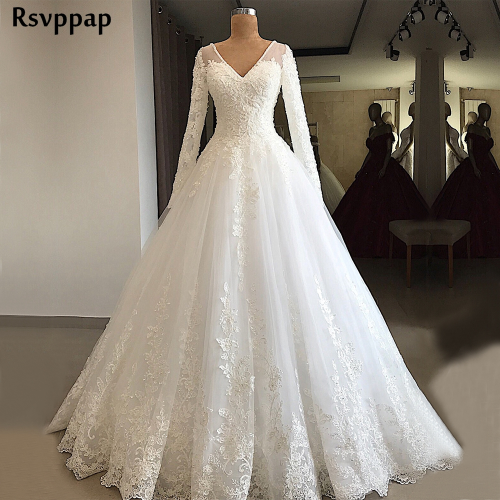 Gorgeous Ball Gown Long Sleeve Wedding Dress 2019 V-neck Beaded Lace Lebanon Bridal White Wedding Gowns Платье