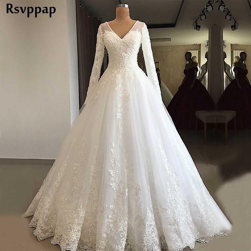 Gorgeous Ball Gown Long Sleeve Wedding Dress 2020 V Neck Beaded Lace Lebanon Bridal White Wedding Gowns Wedding Dresses Aliexpress
