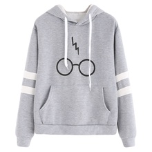 2017 Glasses hooded printed striped velvet hoodies Autumn and winter new products women hoodies kawaii high quality girl black