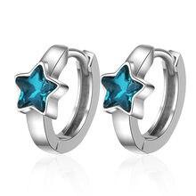 Oorbellen-boucles d'oreilles en argent sterling 925 bleu, cristal, étoiles, Design, bijoux pour fêtes coréennes, japon, nouvelle collection