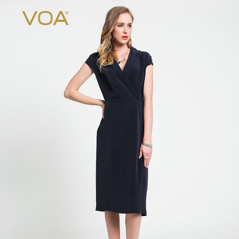 VOA 2018 Automne Mode Profonde Marine Bleu Lourd Soie Office Lady Slim robe moulante Col V grande taille Formelle robes de femmes A6059